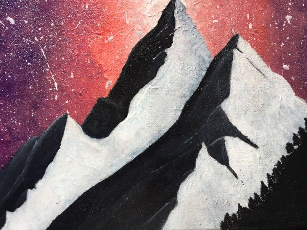 "Pintura acrílica em tela-""Mountains in the night"""