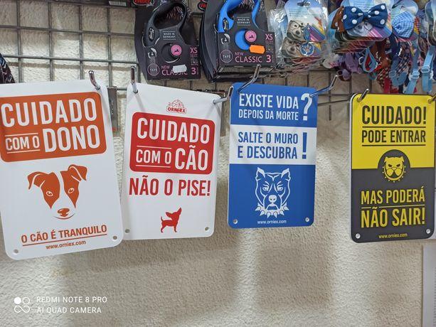 Novo! Placa de aviso cuidado com o cão