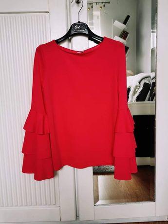 Modna Czerwona bluzka falbany XS, S