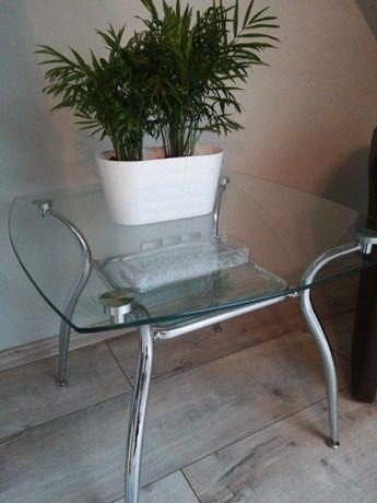 Szklany stolik/ława z półeczką na chromowanych nogach +DOSTAWA gratis*