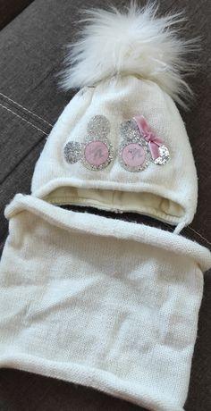 Зимняя шапка + хомут на девочку с 6 месяцев