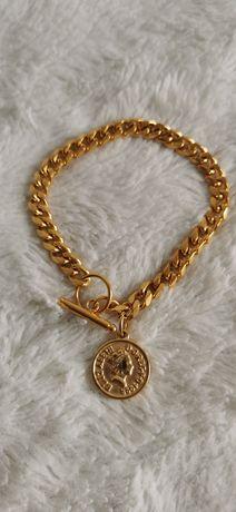 Bransoletka z monetą złota stal