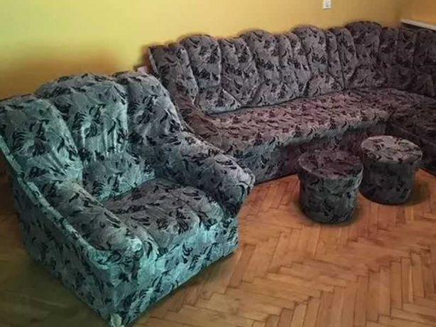 Narożnik, fotel, 2 pufy + transport gratis