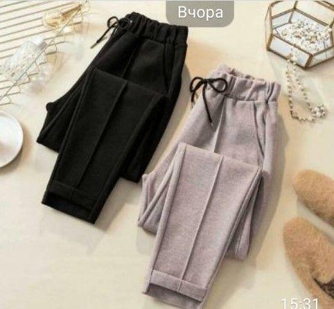 Новые теплые стильные штаны большого размера