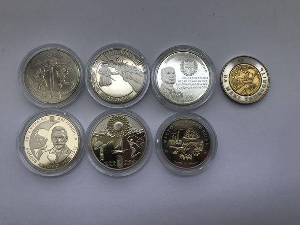 Монеты Украины 2 и 5 гривен 1998-2020