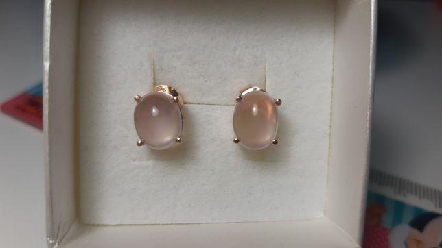 Srebrne kolczyki proby 925 z różowym naturalnym kwarcem
