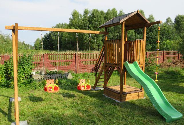 Drewniany plac zabaw: Wieżyczka, Ślizg, Huśtawka