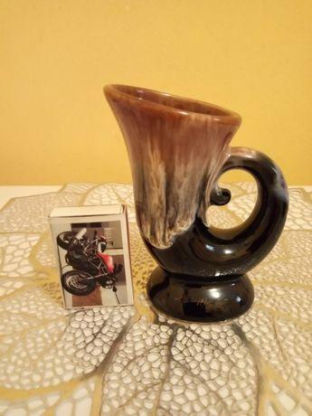 Ceramika/kamionka/porcelit, wazonik szkliwiony vintage z okresu PRL-u