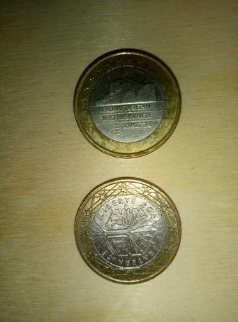 Монеты 1 евро 1999г. Франция и Нидерланды