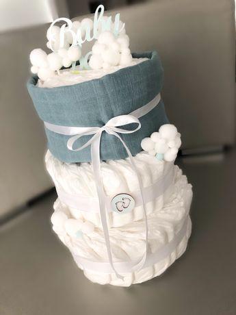 Tort z pampersow tort z pieluch baby shower prezent na narodziny