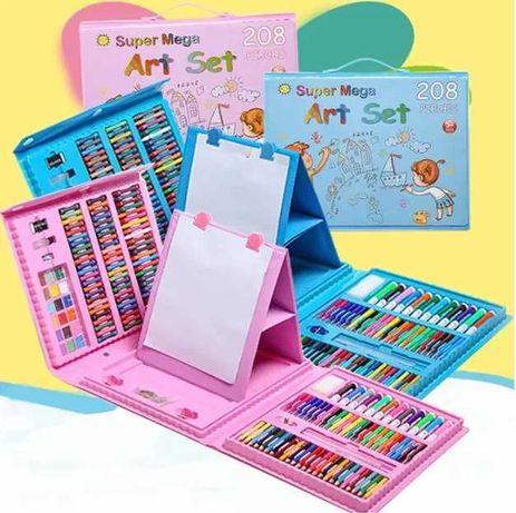 Детский набор для рисования с мольбертом в чемоданчике 208 предметов
