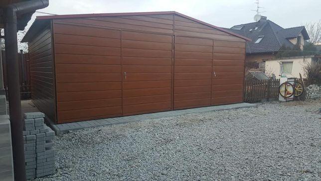 Garaż blaszany PRESTIGE 6x6 Złoty Dąb Profil ! Garaże drewnopodobne