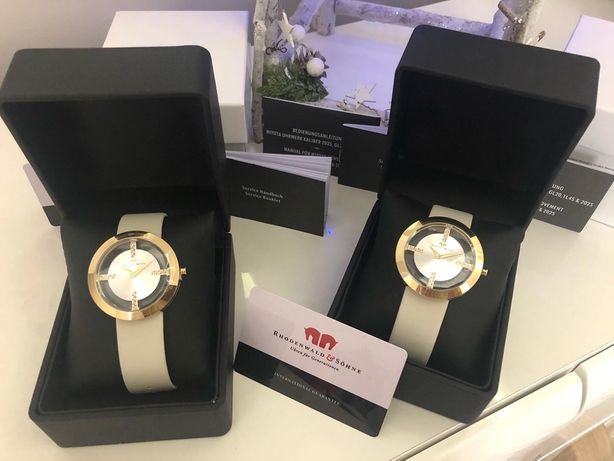 Zegarek Rhodenwald&Söhne -ozdobne diamenciki (biały, złoty)
