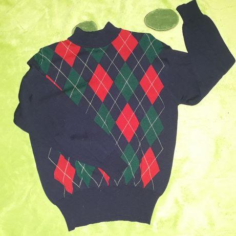 Sweter r 40 42 L XL 100% wełna merino termiczny golf półgolf merynos
