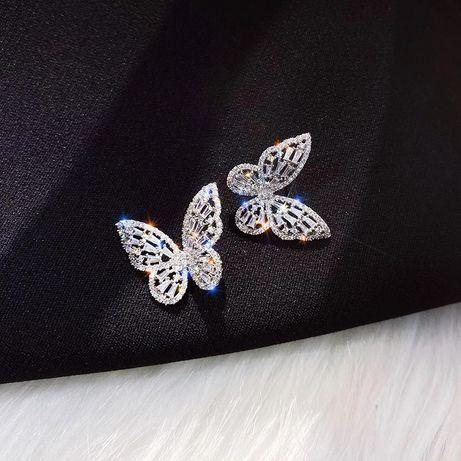 Kolczyki motylki złote lub srebrne stał chirurgiczna