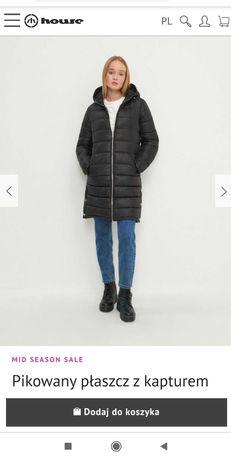 Płaszcz pikowany z kapturem L nowy z metką