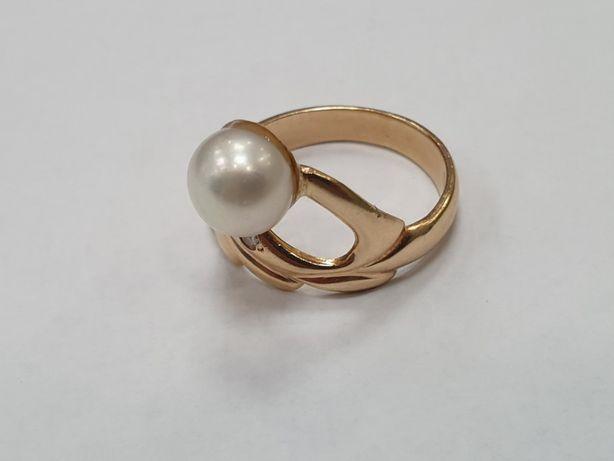 Perła + brylanty! Piękny złoty pierścionek/ 585/ 5 g/ R16/ sklep Gdyni