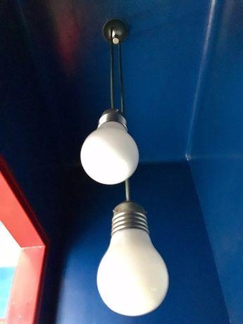 Candeeiro retro tecto anos 70 metal e lâmpadas grandes vidro vintage