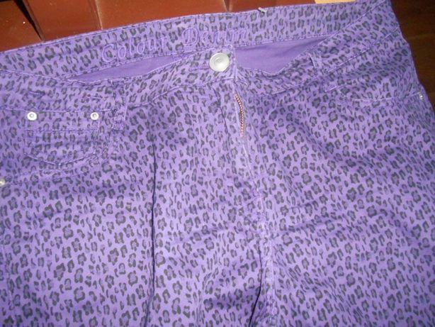 damskie jeansy panterka fioletowe w czarne cętki UK 18