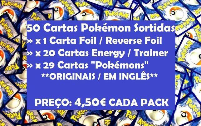 50 CARTAS POKEMON SORTIDAS (x1 Foil ou Reverse Foil) *Originais*