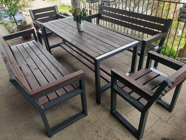 Meble ogrodowe zestaw ławka krzesła stół śmietnik