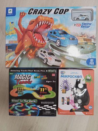 Игры Crazy Cop и Magic Tracks 165 деталей Детский Микроскоп