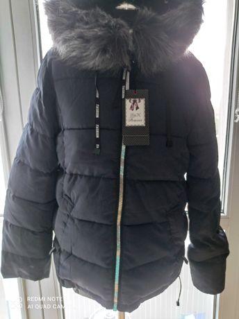 Ładna granatowa damska, bardzo ciepła kurtka zimowa.