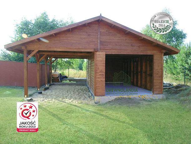 Wiata altana garaż samochodowy na dwa auta drewniany zadaszenie