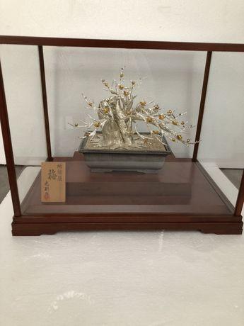 Бонсай сливы, серебро 999, окимоно, ювелирное искусство