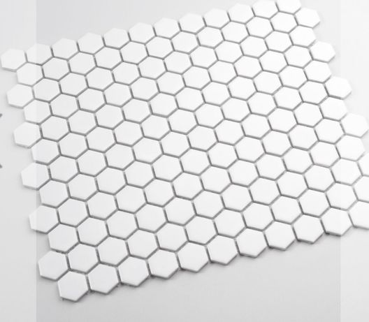 Płytki białe heksagon