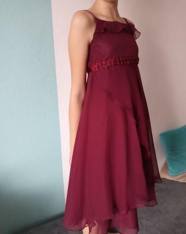 Elegancka bordowa sukienka na wesele r.128/134