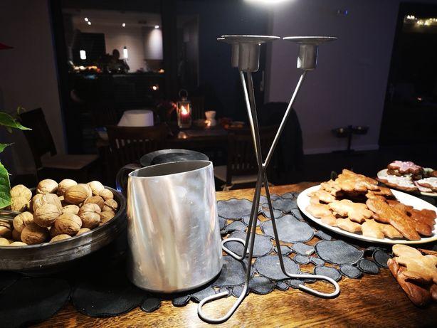 świecznik i wazonik metalowy komplet