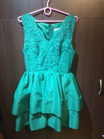 Sukienka zielona, butelkowa zieleń