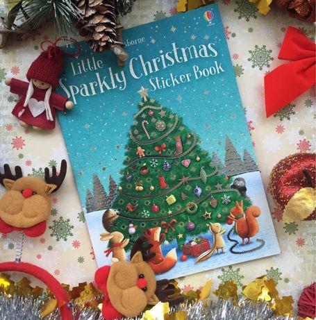 Новая Little sparkly christmas tree sticker book Usborne