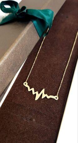 Złoty łańcuszek naszyjnik celebrytka linia życia złoto 585