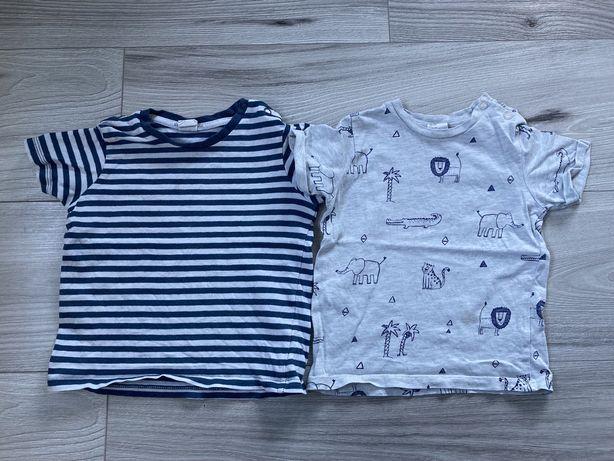 Koszulki t-shirt H&M paski szara zwierzątka granatowe 80