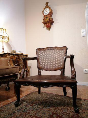 Antiga Bergère (Cadeirão Poltrona Cadeira de braços) Palhinha, Luís XV