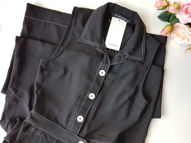 Czarny, długi kombinezon Zara XS