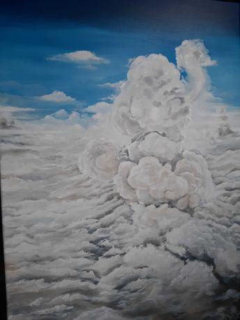 Duży obraz olejny, niebo chmury