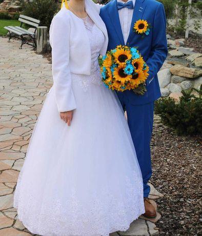 Śliczna suknia ślubna + bolerko! Bogato zdobiona! 34-42.