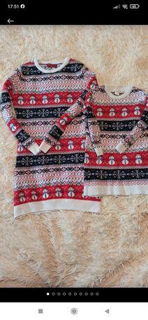 Family look Новогодние платье Новогодний свитер мама дочь