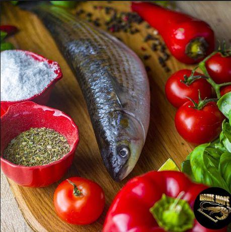 Свіжа риба: лосось, форель, пеленгас, журалка, лобань, бичок, калкан.