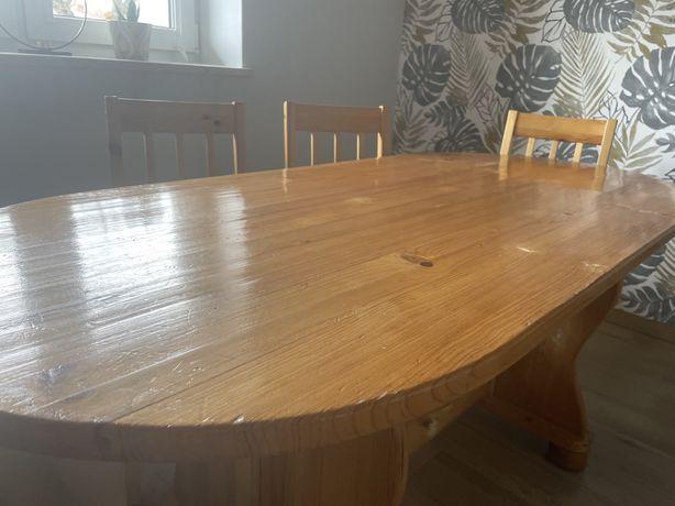 Stół i 6 krzeseł drewniane