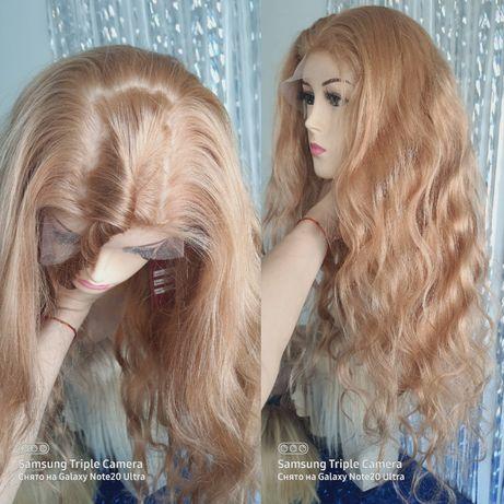 Натуральный парик система шёлковая основа кожа славянский волос 80 см!