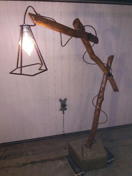 lampa stojaca drewniana industrialna handmade