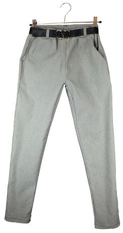 Spodnie dziewczęce pepitka kratka gumka r. 6 - 16