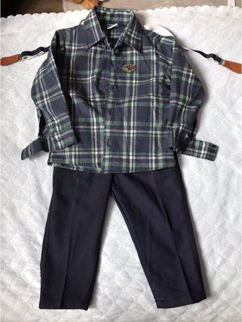 Nowy komplet koszula spodnie i szelki rozm. 92
