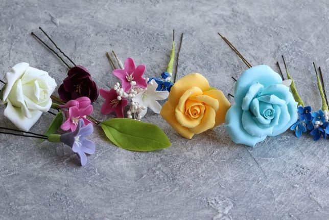 Розы из полимерной глины. Свадебная прическа. Цветы в волосы. Невесте.