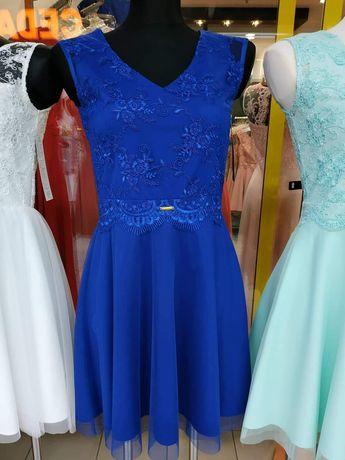 Sukienka chabrowa Infinity r. 46 XL, tiul, koronka