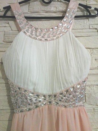 Sukienka Eva&Lola asymetryczna kryształki plisowany przód
